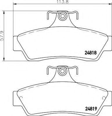 Комплект тормозных колодок, дисковый тормоз HELLA 8DB355014721