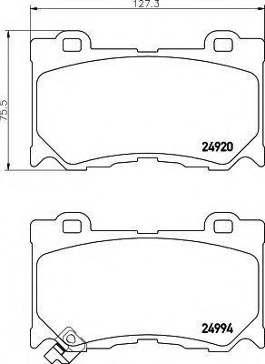 Комплект тормозных колодок, дисковый тормоз HELLA 8DB355014841