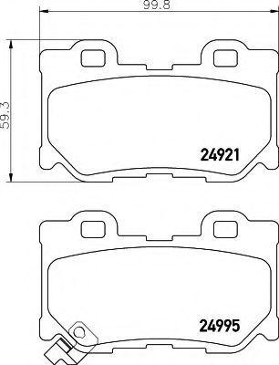 Комплект тормозных колодок, дисковый тормоз HELLA 8DB355015421