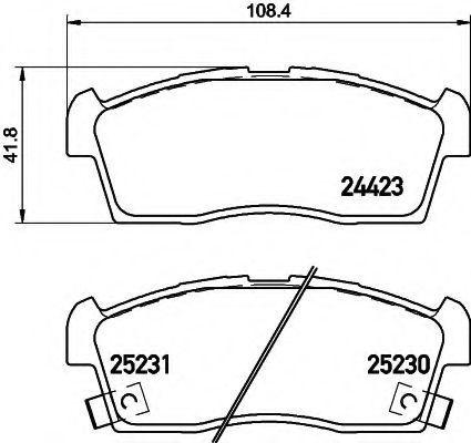 Комплект тормозных колодок, дисковый тормоз HELLA 8DB355016111