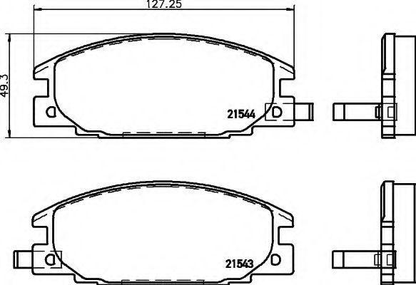 Комплект тормозных колодок, дисковый тормоз HELLA 8DB355016341