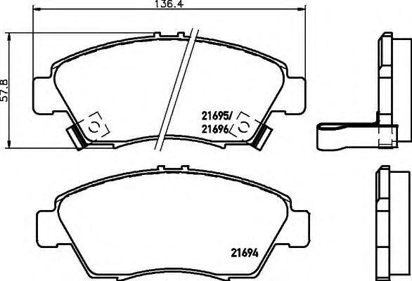Комплект тормозных колодок, дисковый тормоз HELLA 8DB355016461