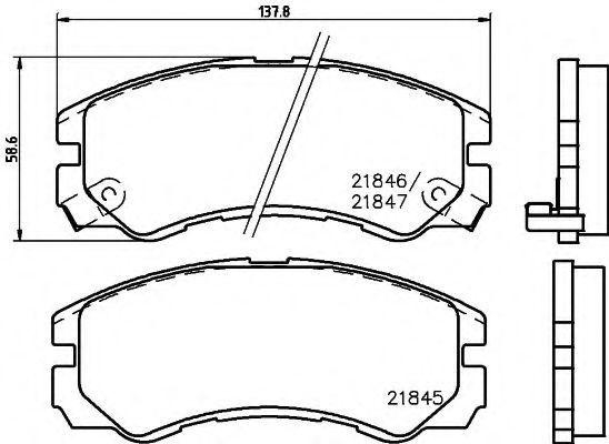 Комплект тормозных колодок, дисковый тормоз HELLA 8DB355016611