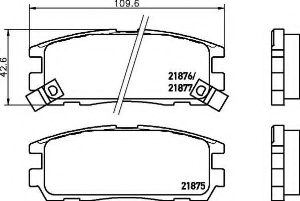 Комплект тормозных колодок, дисковый тормоз HELLA 8DB355016621