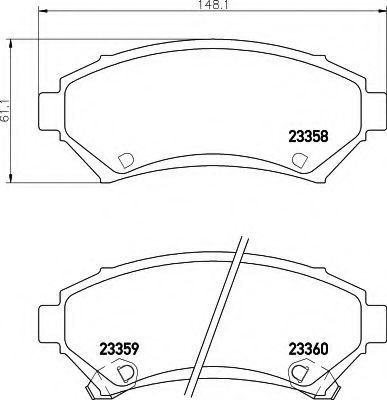 Комплект тормозных колодок, дисковый тормоз HELLA 8DB355016951