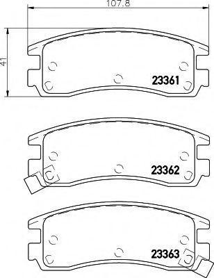 Комплект тормозных колодок, дисковый тормоз HELLA 8DB355016961