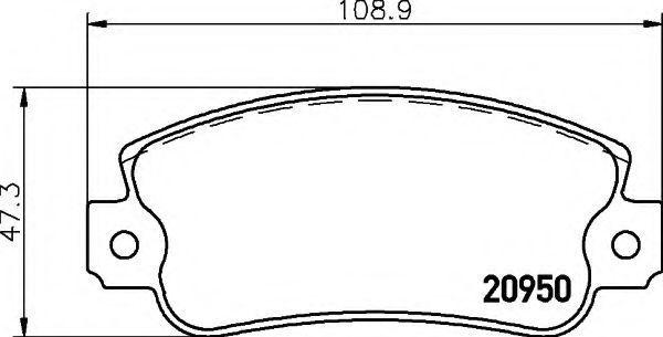 Комплект тормозных колодок, дисковый тормоз HELLA 8DB355018991