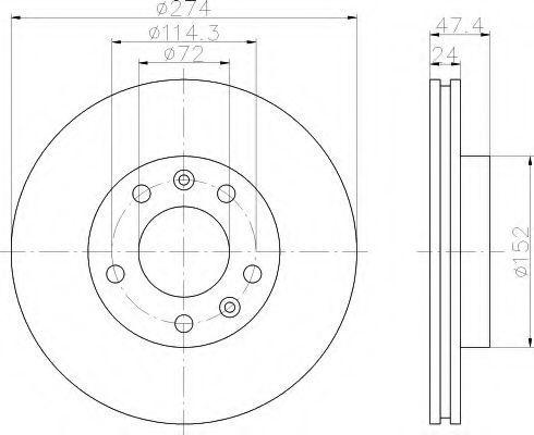 Тормозной диск HELLA 8DD355108751