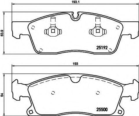 Комплект тормозных колодок, дисковый тормоз HELLA 8DB355019701