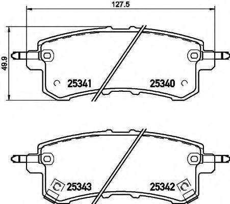 Комплект тормозных колодок, дисковый тормоз HELLA 8DB355019541