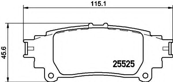 Комплект тормозных колодок, дисковый тормоз HELLA 8DB355020001