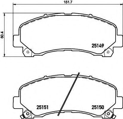 Комплект тормозных колодок, дисковый тормоз HELLA 8DB355020171