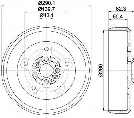 Тормозной барабан HELLA 8DT355302501