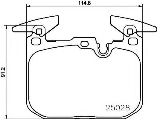 Комплект тормозных колодок, дисковый тормоз HELLA 8DB355021271