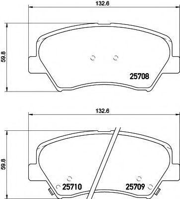 Комплект тормозных колодок, дисковый тормоз HELLA 8DB355021781