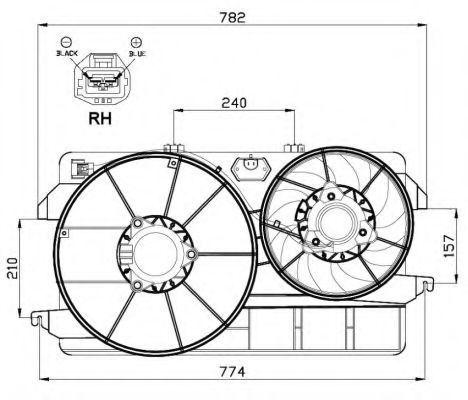 Вентилятор, охлаждение двигателя NRF 47000
