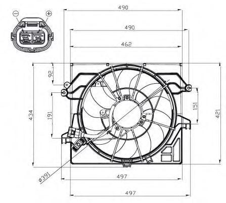 Вентилятор, охлаждение двигателя NRF 47482