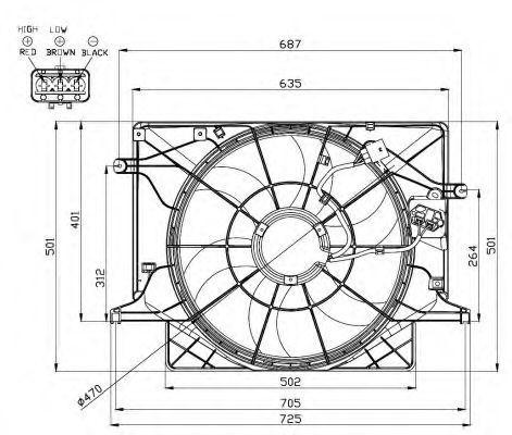 Вентилятор, охлаждение двигателя NRF 47559