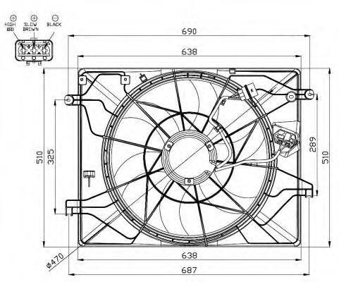 Вентилятор, охлаждение двигателя NRF 47560