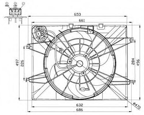 Вентилятор, охлаждение двигателя NRF 47564