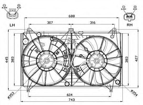 Вентилятор, охлаждение двигателя NRF 47567
