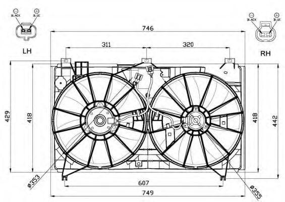 Вентилятор, охлаждение двигателя NRF 47580