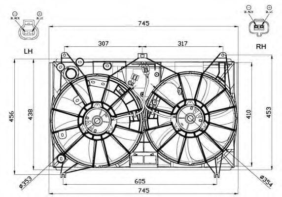 Вентилятор, охлаждение двигателя NRF 47581