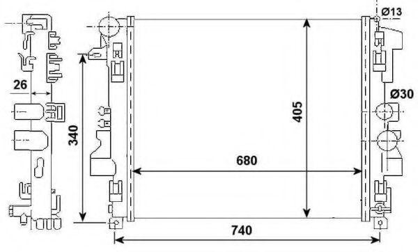 Радиатор охлаждения двигателя NRF 53801