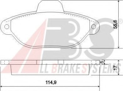Комплект тормозных колодок, дисковый тормоз A.B.S. 36854OE
