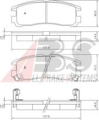 Колодки тормозные задние A.B.S. 37014