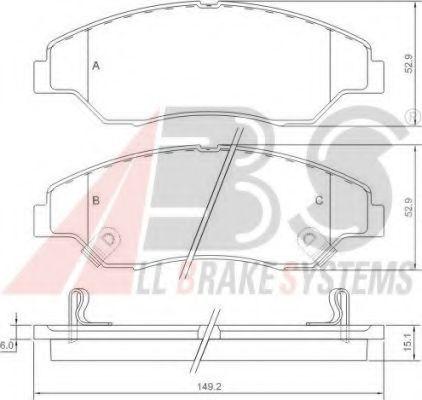 Комплект тормозных колодок, дисковый тормоз A.B.S. 37137OE