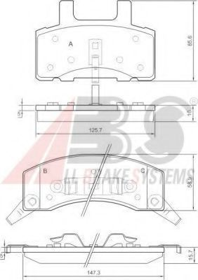 Комплект тормозных колодок, дисковый тормоз A.B.S. 38370
