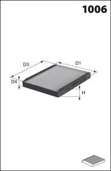 Фильтр, воздух во внутренном пространстве MECAFILTER ELR7180