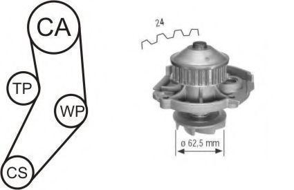 Насос водяной с ремнем и роликом AIRTEX WPK161601