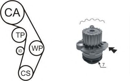 Насос водяной с ремнем и роликом AIRTEX WPK177404