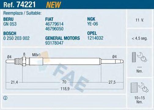 Свеча накаливания FAE 74221
