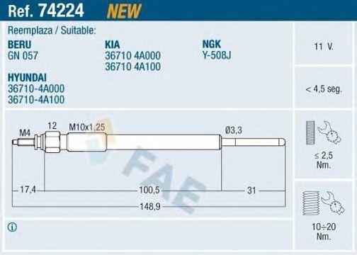 Свеча накаливания FAE 74224