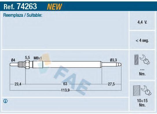 Свеча накаливания FAE 74263