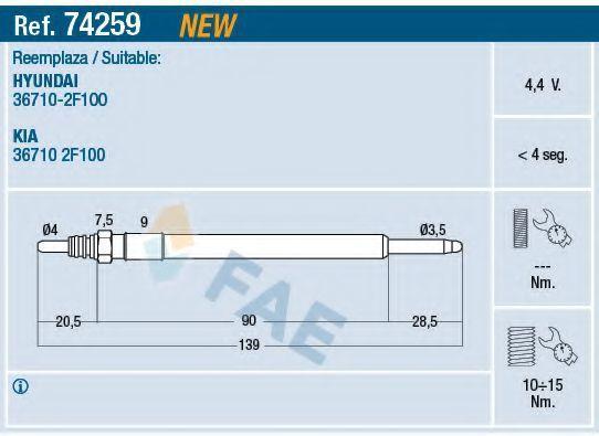 Свеча накаливания FAE 74259