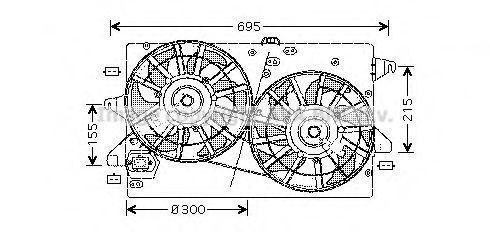 Вентилятор, охлаждение двигателя AVA FD7502