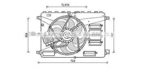 Вентилятор, охлаждение двигателя AVA FD7554
