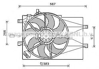 Вентилятор, охлаждение двигателя AVA FT7598