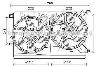 Вентилятор, охлаждение двигателя AVA FT7607