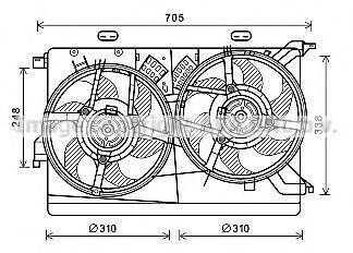 Вентилятор, охлаждение двигателя AVA FT7608