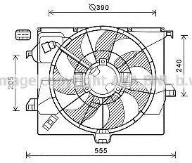Вентилятор, охлаждение двигателя AVA HY7542