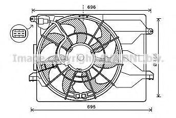 Вентилятор, охлаждение двигателя AVA HY7549