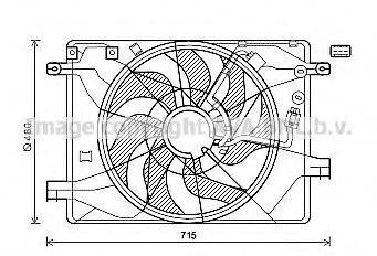 Вентилятор, охлаждение двигателя AVA HY7558