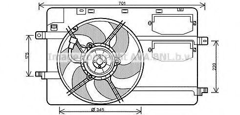 Вентилятор, охлаждение двигателя AVA MC7506