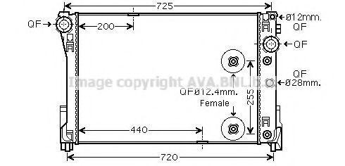 Радиатор, охлаждение двигателя AVA MS2491