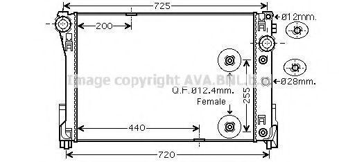 Радиатор, охлаждение двигателя AVA MS2546